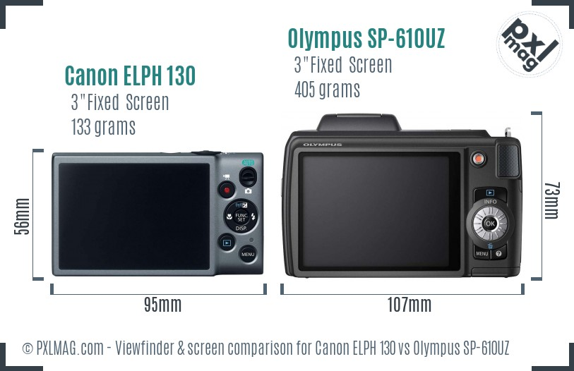 Canon ELPH 130 vs Olympus SP-610UZ Screen and Viewfinder comparison