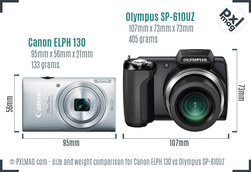 Canon ELPH 130 vs Olympus SP-610UZ size comparison