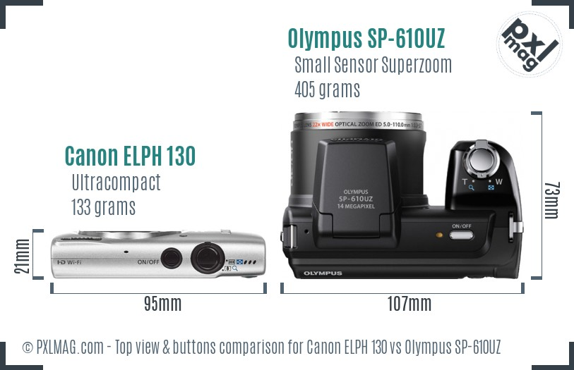 Canon ELPH 130 vs Olympus SP-610UZ top view buttons comparison