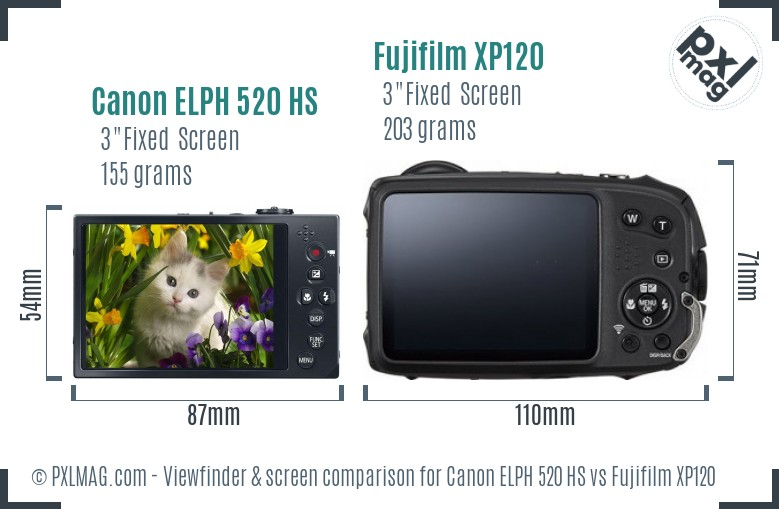 Canon ELPH 520 HS vs Fujifilm XP120 Screen and Viewfinder comparison