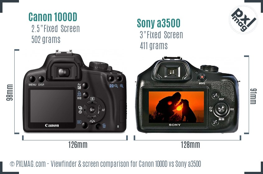Canon 1000D vs Sony a3500 Screen and Viewfinder comparison