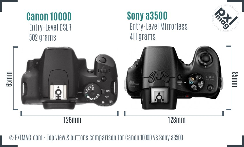 Canon 1000D vs Sony a3500 top view buttons comparison