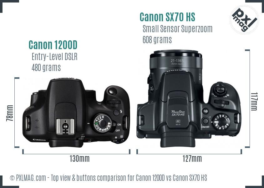 Canon 1200D vs Canon SX70 HS top view buttons comparison