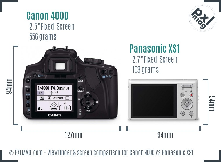 Canon 400D vs Panasonic XS1 Screen and Viewfinder comparison