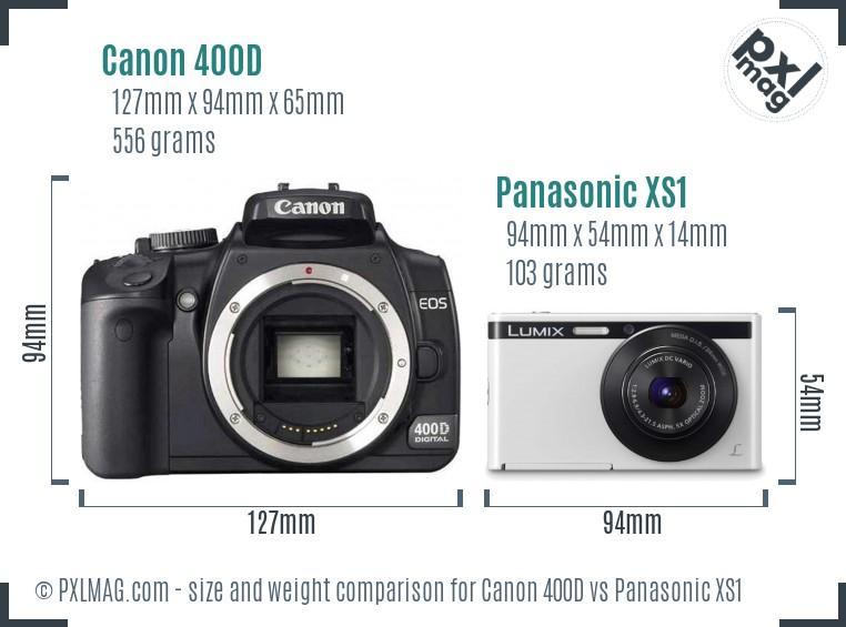Canon 400D vs Panasonic XS1 size comparison