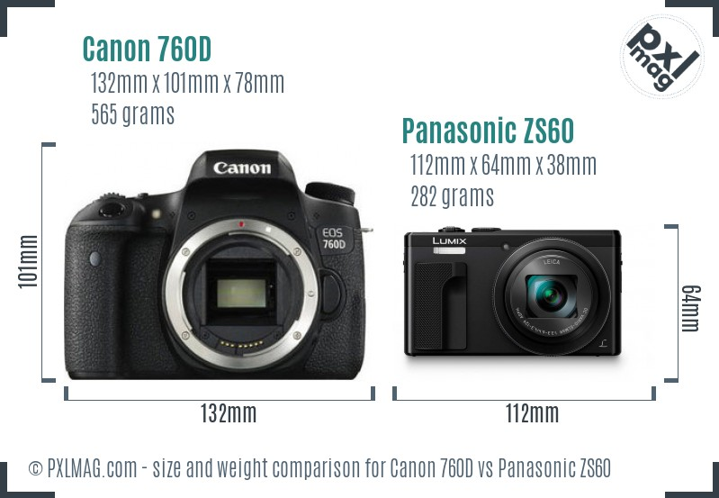 Canon 760D vs Panasonic ZS60 size comparison