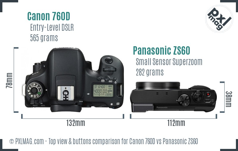 Canon 760D vs Panasonic ZS60 top view buttons comparison