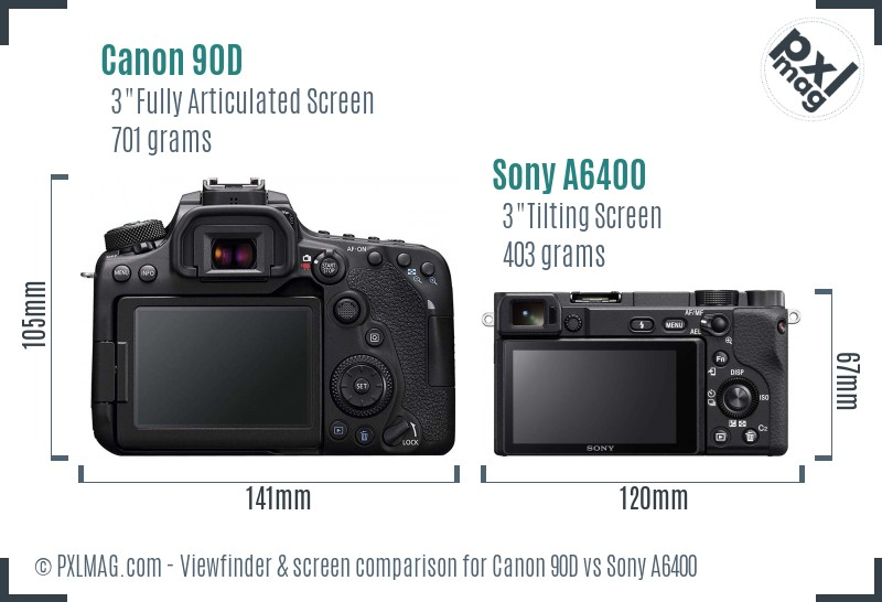 Canon 90D vs Sony A6400 Screen and Viewfinder comparison