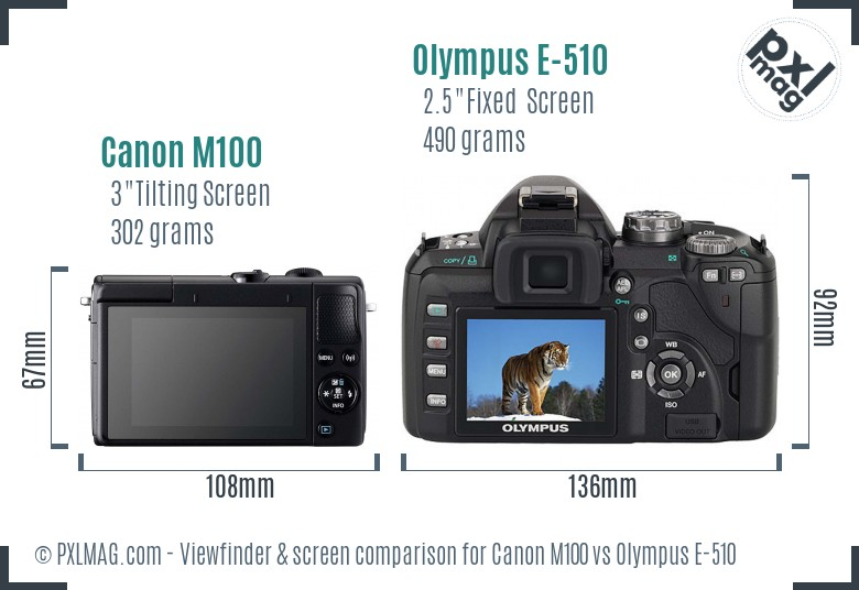 Canon M100 vs Olympus E-510 Screen and Viewfinder comparison