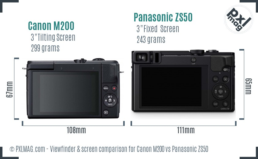 Canon M200 vs Panasonic ZS50 Screen and Viewfinder comparison