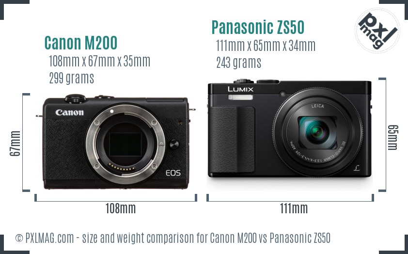 Canon M200 vs Panasonic ZS50 size comparison