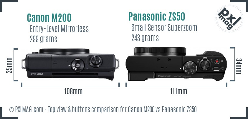Canon M200 vs Panasonic ZS50 top view buttons comparison
