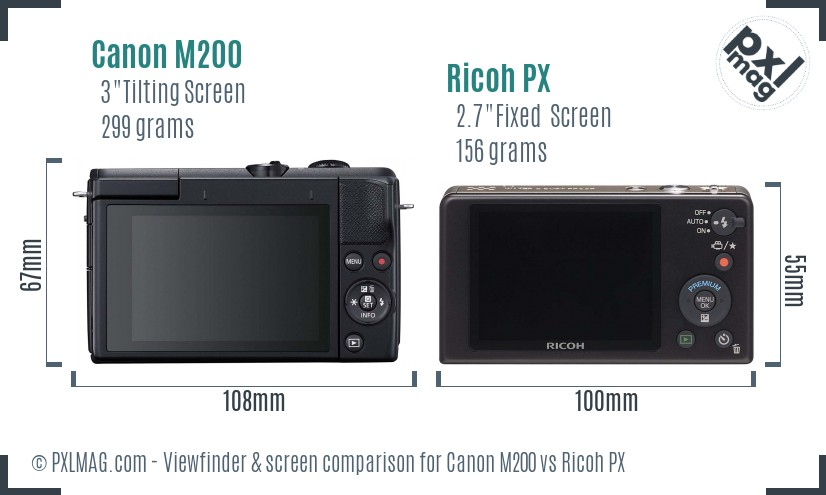 Canon M200 vs Ricoh PX Screen and Viewfinder comparison