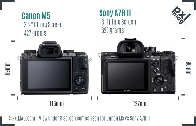 Canon M5 vs Sony A7R II Screen and Viewfinder comparison