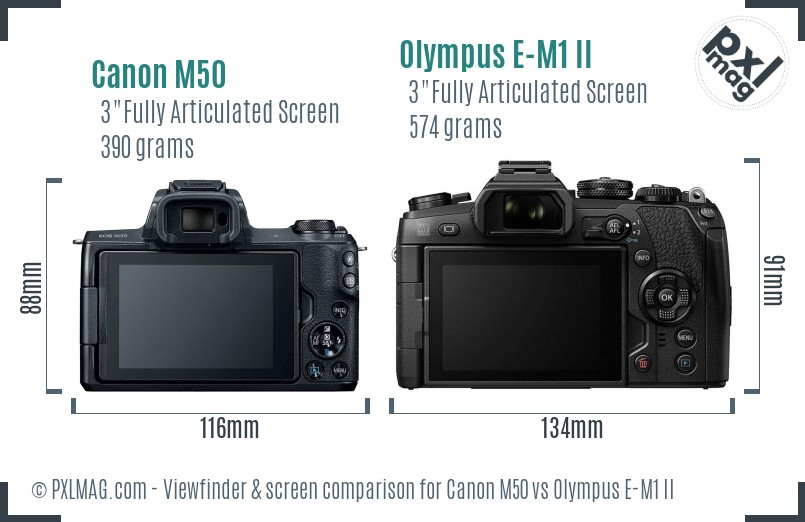 Canon M50 vs Olympus E-M1 II Screen and Viewfinder comparison