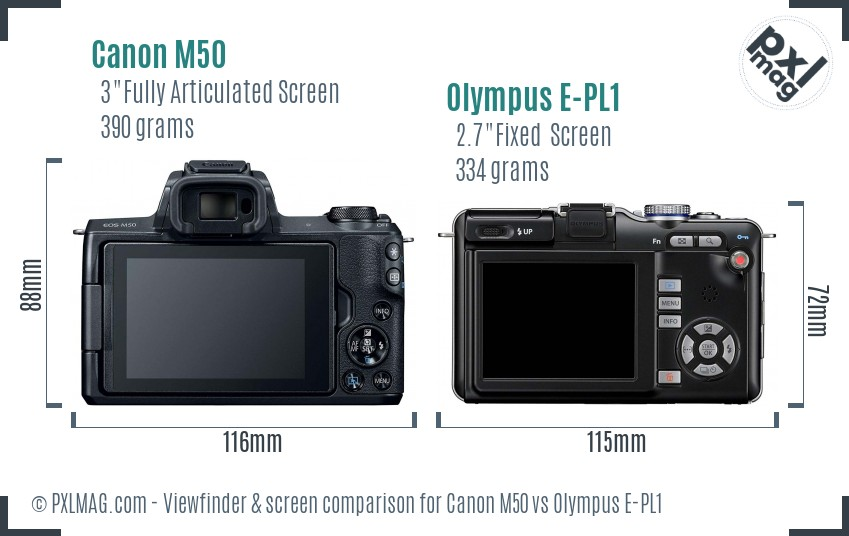 Canon M50 vs Olympus E-PL1 Screen and Viewfinder comparison