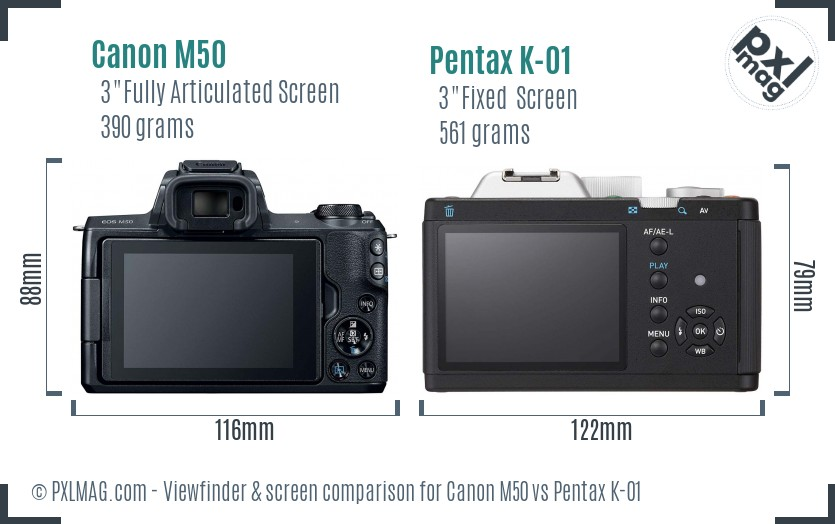 Canon M50 vs Pentax K-01 Screen and Viewfinder comparison