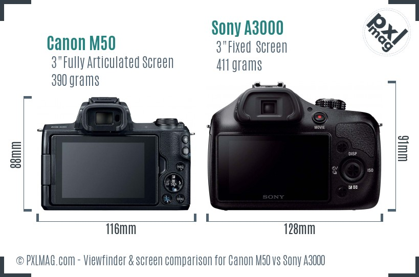 Canon M50 vs Sony A3000 Screen and Viewfinder comparison