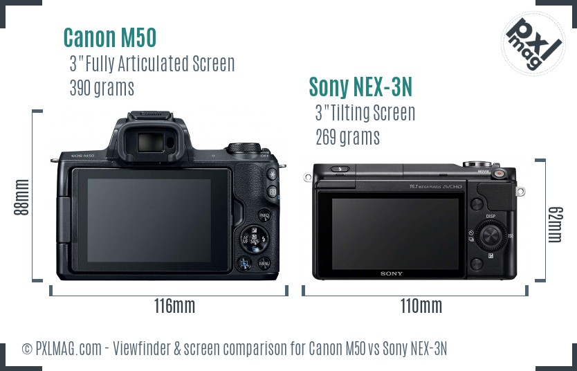 Canon M50 vs Sony NEX-3N Screen and Viewfinder comparison