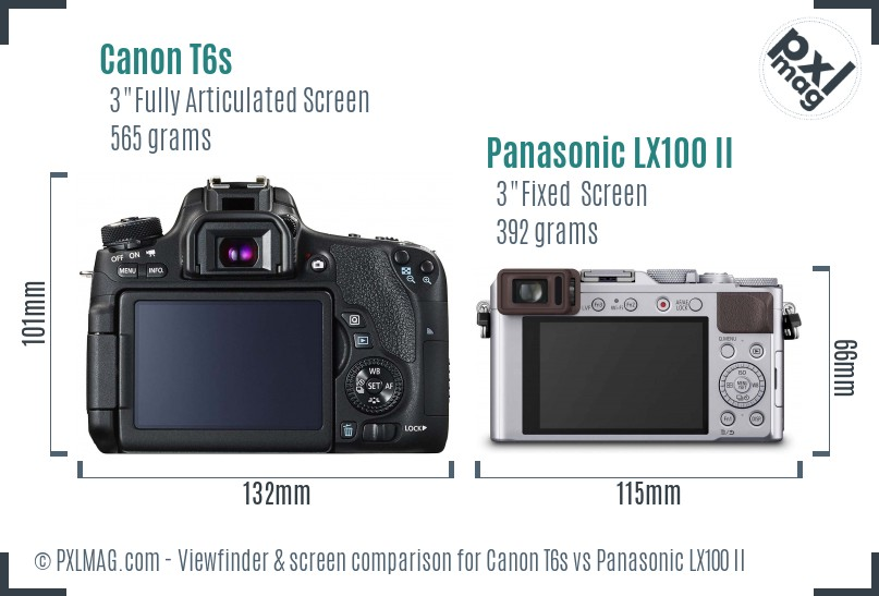 Canon T6s vs Panasonic LX100 II Screen and Viewfinder comparison
