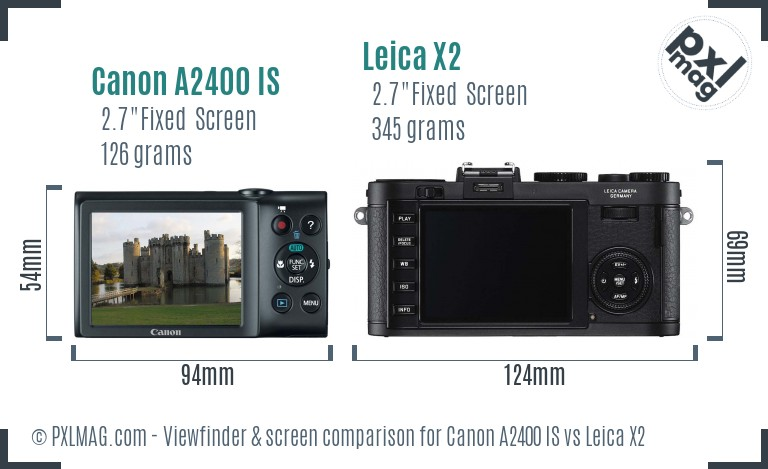 Canon A2400 IS vs Leica X2 Screen and Viewfinder comparison