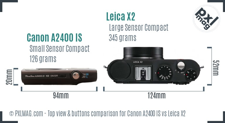 Canon A2400 IS vs Leica X2 top view buttons comparison