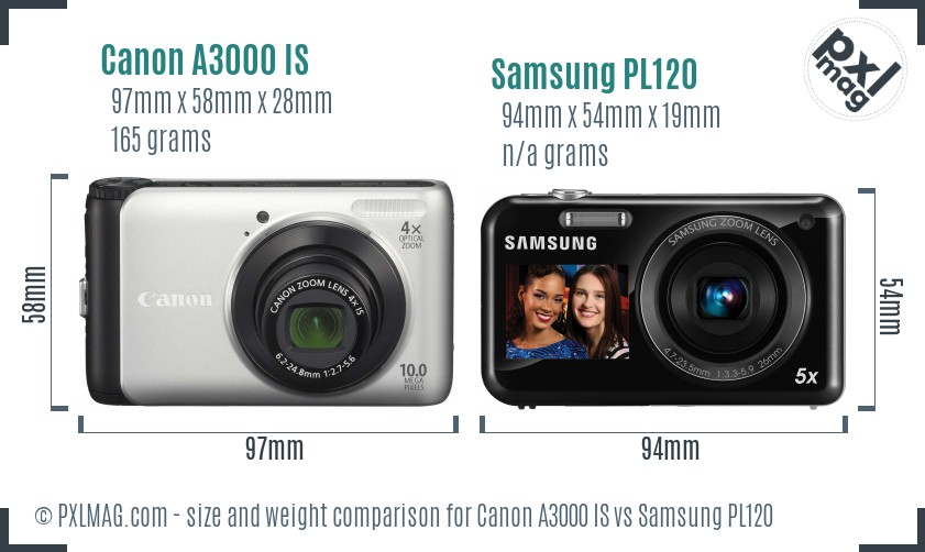 Canon A3000 IS vs Samsung PL120 size comparison