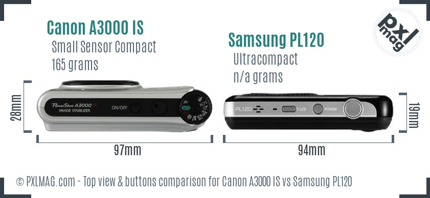 Canon A3000 IS vs Samsung PL120 top view buttons comparison
