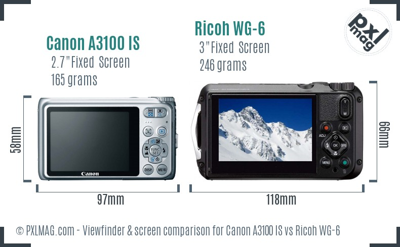Canon A3100 IS vs Ricoh WG-6 Screen and Viewfinder comparison