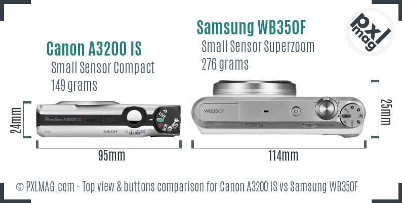 Canon A3200 IS vs Samsung WB350F top view buttons comparison