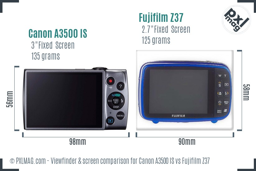 Canon A3500 IS vs Fujifilm Z37 Screen and Viewfinder comparison