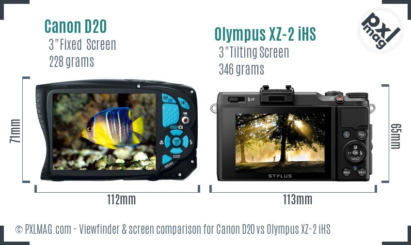 Canon D20 vs Olympus XZ-2 iHS Screen and Viewfinder comparison