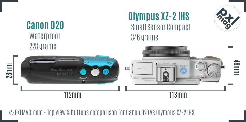 Canon D20 vs Olympus XZ-2 iHS top view buttons comparison