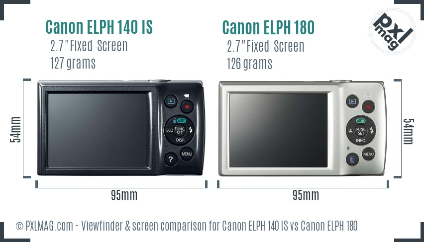 Canon ELPH 140 IS vs Canon ELPH 180 Screen and Viewfinder comparison