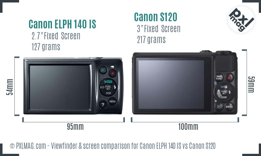 Canon ELPH 140 IS vs Canon S120 Screen and Viewfinder comparison