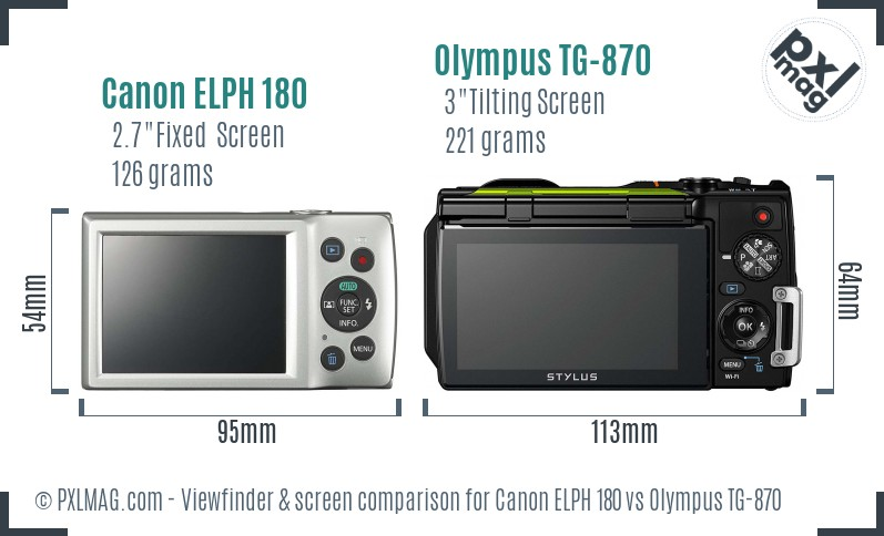 Canon ELPH 180 vs Olympus TG-870 Screen and Viewfinder comparison