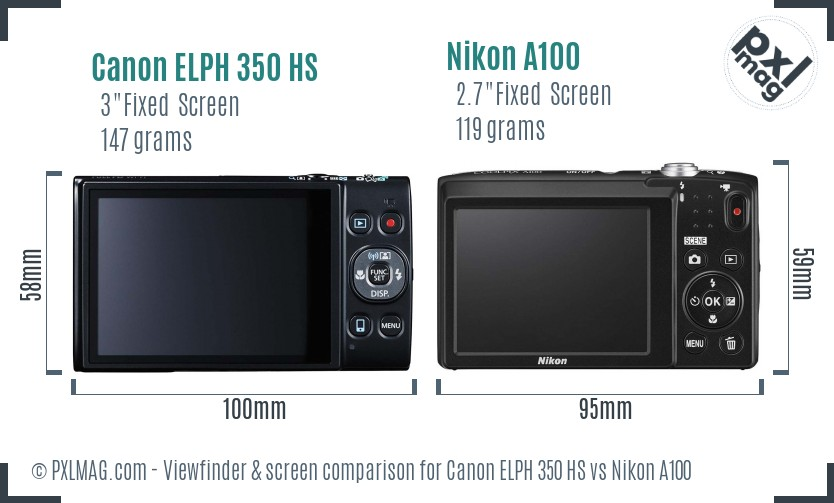Canon ELPH 350 HS vs Nikon A100 Screen and Viewfinder comparison
