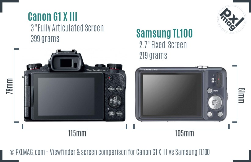 Canon G1 X III vs Samsung TL100 Screen and Viewfinder comparison