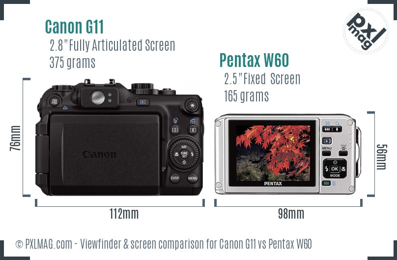 Canon G11 vs Pentax W60 Screen and Viewfinder comparison