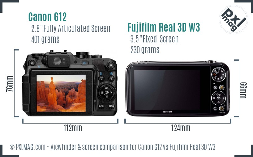 Canon G12 vs Fujifilm Real 3D W3 Screen and Viewfinder comparison