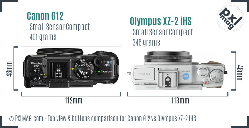 Canon G12 vs Olympus XZ-2 iHS top view buttons comparison