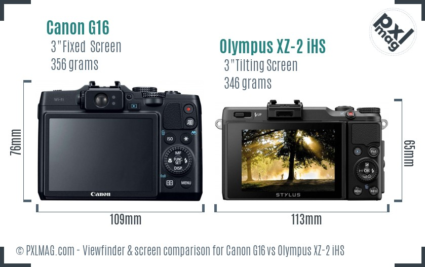 Canon G16 vs Olympus XZ-2 iHS Screen and Viewfinder comparison