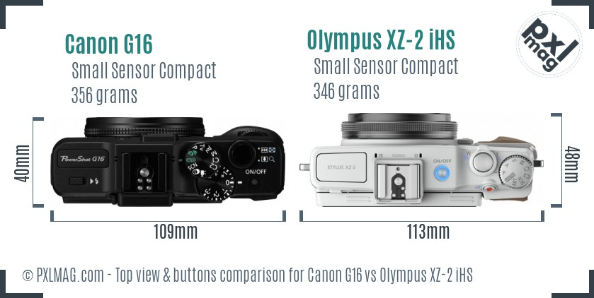 Canon G16 vs Olympus XZ-2 iHS top view buttons comparison