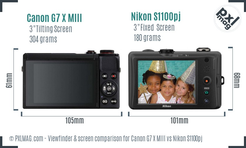 Canon G7 X MIII vs Nikon S1100pj Screen and Viewfinder comparison
