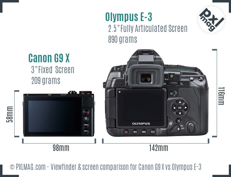 Canon G9 X vs Olympus E-3 Screen and Viewfinder comparison