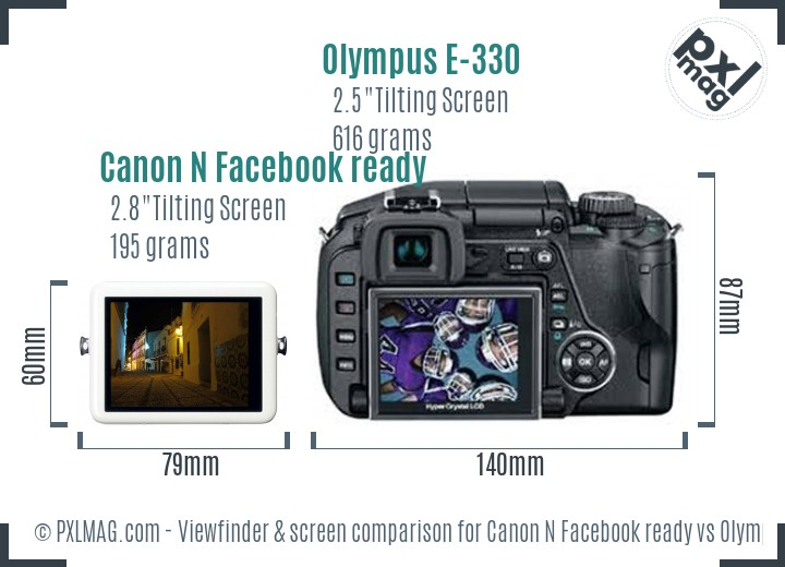 Canon N Facebook ready vs Olympus E-330 Screen and Viewfinder comparison