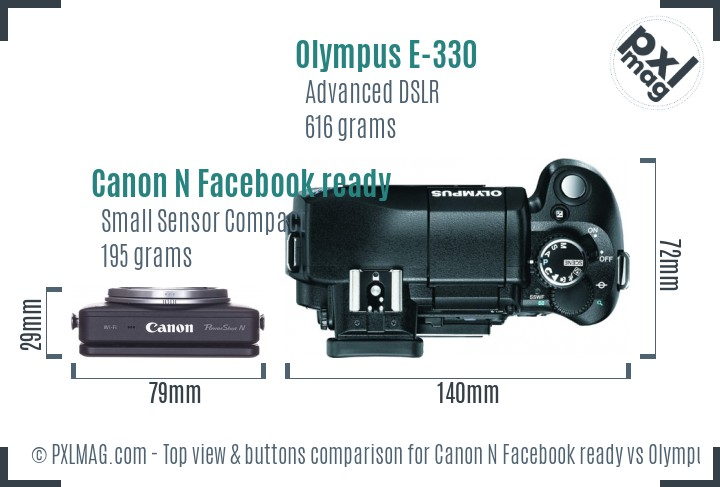 Canon N Facebook ready vs Olympus E-330 top view buttons comparison
