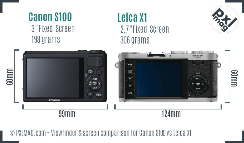 Canon S100 vs Leica X1 Screen and Viewfinder comparison