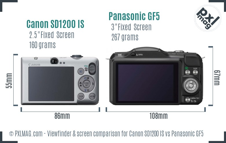 Canon SD1200 IS vs Panasonic GF5 Screen and Viewfinder comparison
