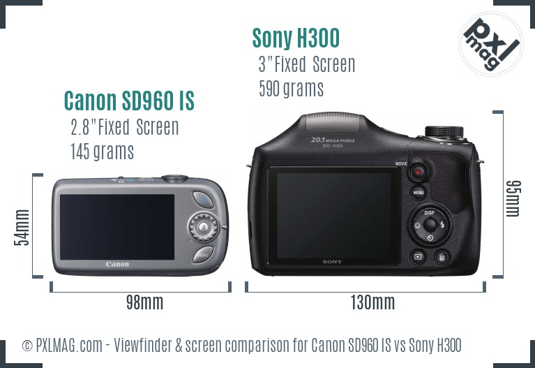 Canon SD960 IS vs Sony H300 Screen and Viewfinder comparison